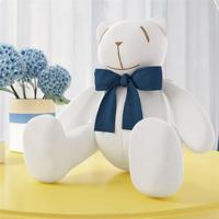 Urso Branco Laço Azul Marinho 34Cm Grão De Gente Azul