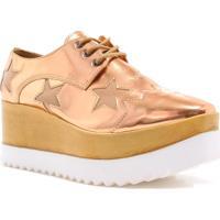 Sapato Oxford Zariff Shoes Plataforma Flatform Estrelas Dourado