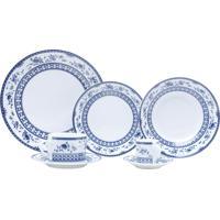 Aparelho De Jantar 42 Peças Porcelana Azul Mail Box Bon Gourmet