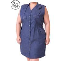 Vestido Plus Size - Confidencial Extra Botões Azul