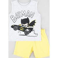 Conjunto De Regata Batman Cinza Mescla + Bermuda Em Moletom Amarelo