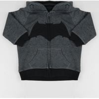 Blusão Infantil Batman Com Capuz Em Moletom Cinza Mescla Escuro