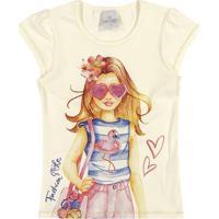 "Blusa ""Fashion Style"" - Amarelo Claro & Rosa- Lecimalecimar"