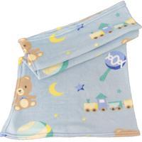 Manta Microfibra Confort Baby Hazime Play Azul