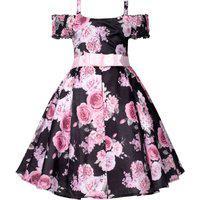 Vestido Infantil Cattai Floral Preto E Rosa