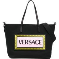 Young Versace Bolsa Maternidade Com Logo - Preto