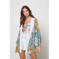 Kimono Est Floral Jeju - Oh, Boy! - Feminino-Amarelo