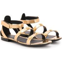 Young Versace Sandália Com Tachas - Dourado