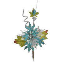 Flor Decoraçáo Natal Para Árvore Natal 32Cm Azul Turquesa