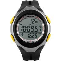Relógio Pedômetro Skmei Digital 1107 - Preto E Amarelo
