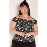 Blusa Floral Com Alças Reguláveis Plus Size