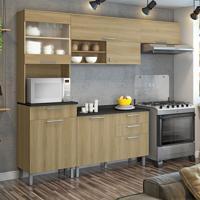 Cozinha Compacta Clean 6 Pt 4 Gv Nogueira E Preta