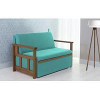 Sofá Cama Compacto Para Casal Akro - Sofá Bicama Estofado Verniz Castanho Tecido Azul Turquesa - 128X90X85Cm