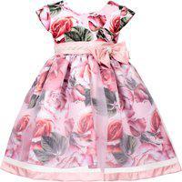 Vestido Infantil Cattai Floral Rosa