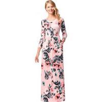 Vestido Longo Estampa Floral Com Bolsos Manga Longa - Rosa