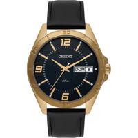 Relógio Orient Masculino Mgsc2002 P2Px Pulseira Couro Preta Caixa Aço Dourada Mostrador Preto