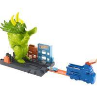 Pista De Percurso E Veículo - Hot Wheels City - Smashin' Triceratops - Mattel