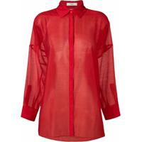 Poiret Camisa Com Transparência - Vermelho