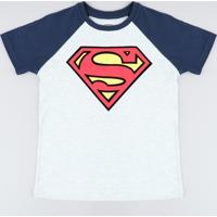 Camiseta Infantil Super Homem Raglan Manga Curta Gola Careca Cinza Mescla Claro
