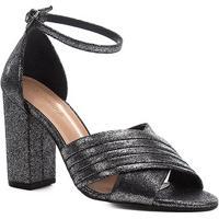 Sandália Shoestock Plissada Salto Bloco Feminina - Feminino-Prata