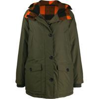 Woolrich Check Hooded Short Parka - Verde