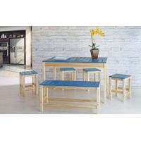 Sala De Jantar Gourmet De Madeira Maciça Taeda Natural Com Tampo Colorido Olga – Verniz Nózes/Azul 120X80X75Cm
