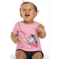 Blusa Manga Curta Bebê Menina Rosa