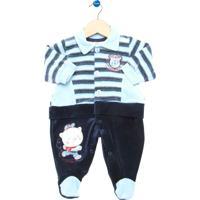 Macacão Longo Bebê Curioso Champion Style Azul E Marinho Listrado