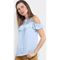 Blusa Mi Ombro A Ombro Pérolas Babado Feminina - Feminino-Azul