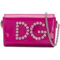 Dolce & Gabbana Kids Bolsa Tiracolo Em Couro Com Logo De Strass - Rosa