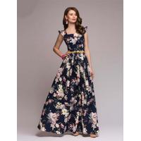 Vestido Longo Estampa Flores Manga Raglán - Azul Xgg