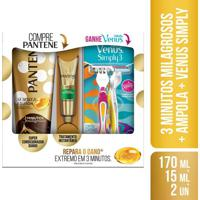 Kit Pantenne 3 Minutos Milagres 170Ml + Ampola Restauração 15Ml + 2 Aparelhos Gillete Vênus Kit Pantenne 3 Minutos Milagrosos Condicionador 170Ml + Am
