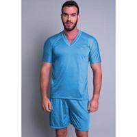 Pijama Mvb Modas Curto Verão Masculino - Masculino-Azul Claro