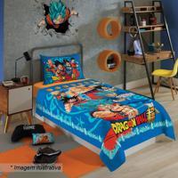 Jogo De Cama Dragon Ballâ® Solteiro- Azul & Vermelho-Lepper