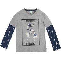 Camiseta Infantil Menino Com Mangas Longas Estampada Puc