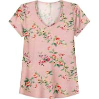 Blusa Estampada Viscose Decote V Rosa