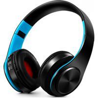 Fone De Ouvido Bluetooth Dobrável - Preto E Azul