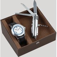 Kit De Relógio Analógico Mondaine Masculino + Canivete - 99245G0Mvnh2Kz Prateado