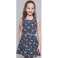 Vestido Infantil Estampado Floral Com Cinto Metalizado Azul Marinho