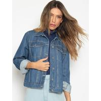 Jaqueta Jeans Com Recortes - Azulenna