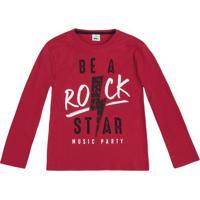"""Camiseta """"Be A Rock Star""""- Vermelho Escuro & Preta- Puc"""