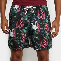 Shorts Mash Estampado Floral Chique Masculino - Masculino-Preto