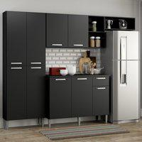 Cozinha Compacta Pequim 9 Portas Mp2933 Multimóveis Preto Preto