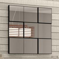Espelho Quadriculado 3D Tb86 Preto/Espelho - Dalla Costa
