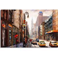 Tela Decorativa Estilo Pintura Cidade De Nova York Sob Chuva - Tamanho: 60X90Cm (A-L) Unico