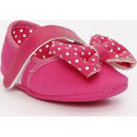 Sapato Boneca Com Laço & Poás - Pink & Branco - Ticctico Baby