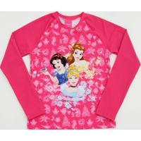 Blusa Praia Infantil Princesas Proteção Uv Disney