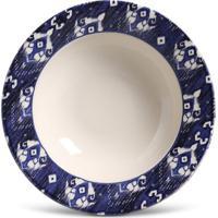 Prato Fundo Mônaco Ikat Blue Cerâmica 6 Peças Porto Brasil