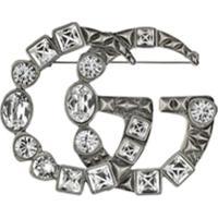 Gucci Broche Double G Com Cristais - Metálico