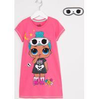 Camisola Infantil Estampa Lol Com Máscara De Dormir - Tam 4 A 14 Anos